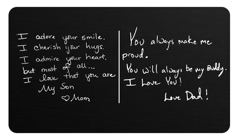 Handwriting Message Cards, Wallet Cards, Prayer Cards, Personalized Laser Engraved Matte Black Aluminum - enmengraving