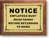 "6""x8"" Employees Must Wash Hands Sign, Solid Walnut Cove Edges, Solid Metal Plates, Restaurant Sign - enmengraving"
