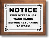 "6""x8"" Employees Must Wash Hands Sign, Solid Walnut Cove Edges, Solid Metal Plates, Restaurant Sign"