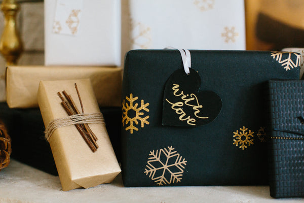 Gift Wrap - Black & Gold Metallic Snowflake