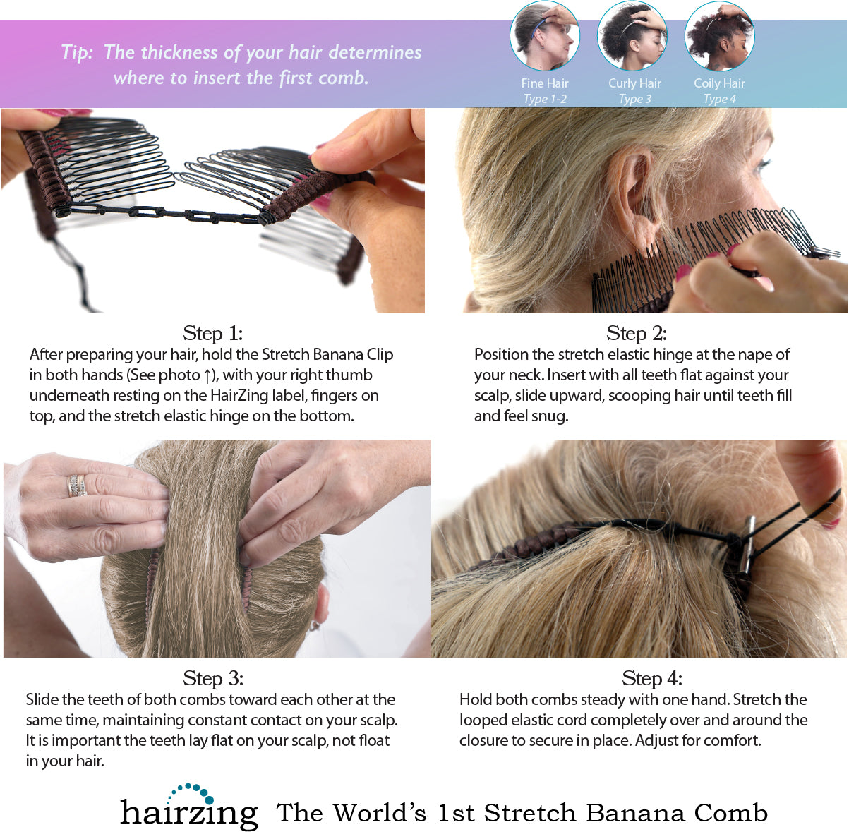 HairZing Stretch Banana Clip Instructions for Fine Thin Hair