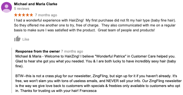 Hairzing Happy Customer Review