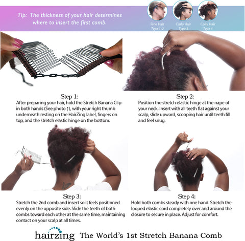 HairZing Stretch Banana Clip Instructions for Thick Hair