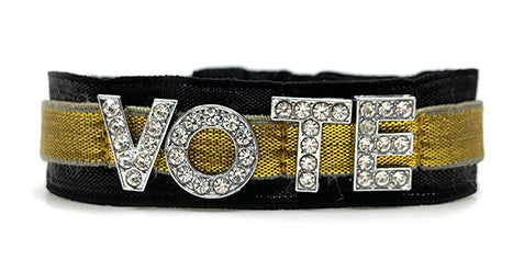 Gold with Faux Diamonds Vote Ponytailer Wristband by HairZing