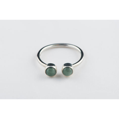 Double Jade Stone Open Ring