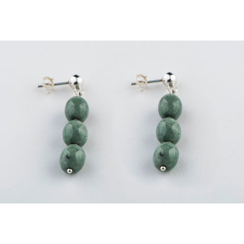 Triple Bead Jade Earrings