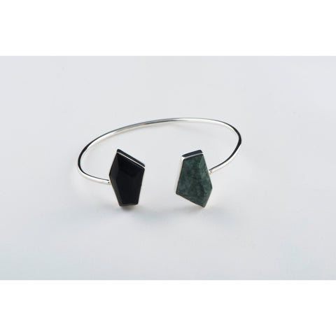 Double Stone Asymmetrical Open Bracelet