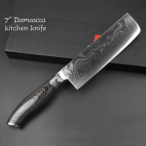 Damascus Steel Cleaver 7 Inch Black Edition Kitchen