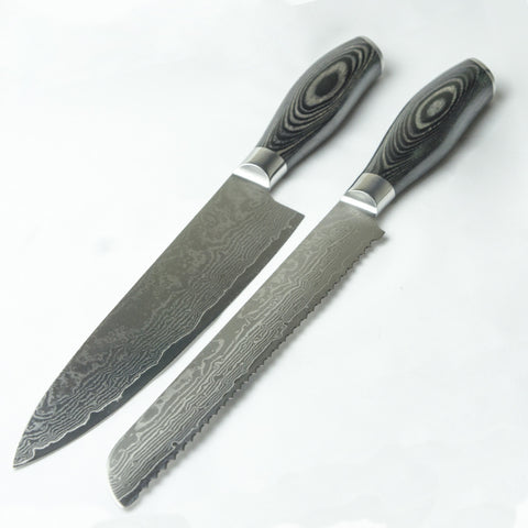 Damascus Steel Knife Set 2 Piece - Black Edition Chef - Bread