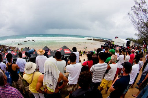 Despite torrential downpours the crowds flocked to Snapper Rocks, Australia to watch the action.