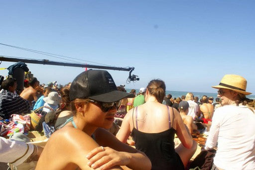 The whole beach was like a movie set, uh oh watch out for that camera.
