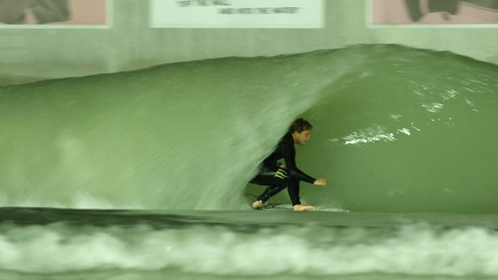 Parker Coffin in the barrel at the BSR Surf Resort in Waco, TX.