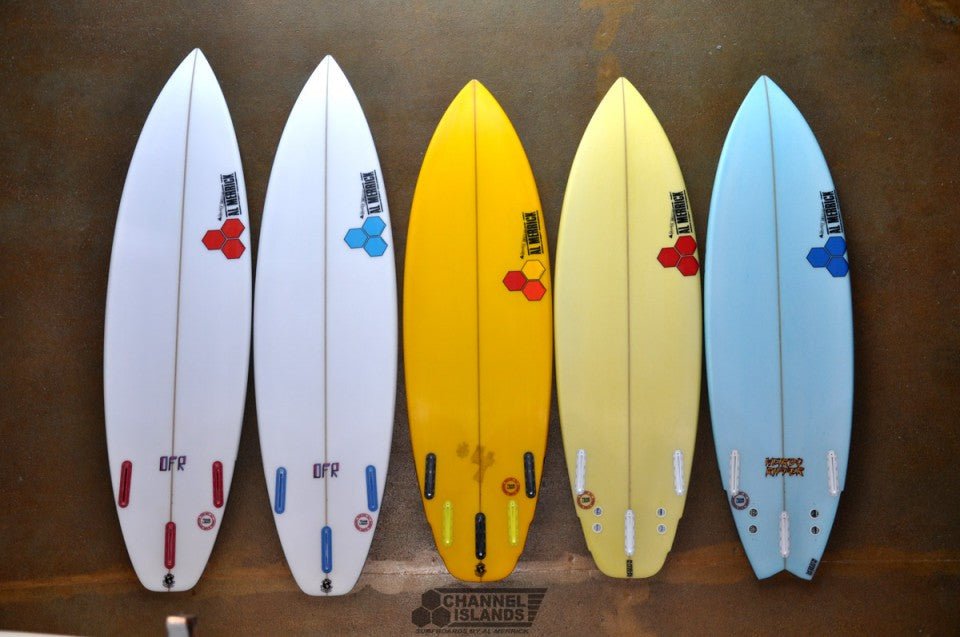 Dane Reynolds' Quiver for The Quiksilver Pro Gold Coast 2013 bottoms