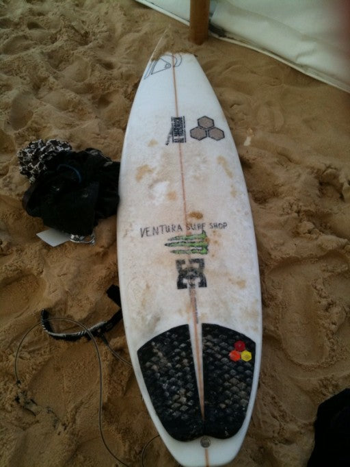 Dane Reynolds' Proton 6-2 185/8 2 5/16 squash tail with glass on fins