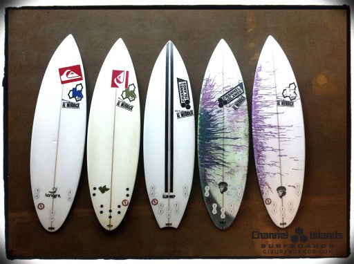 Kelly Slater's 5 board Quiver for Puerto Rico