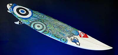 Surfboard used by Kelly Slater in his 10th Pro Surfing Championship, 2010.
