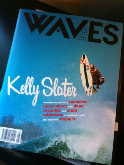 Kelly Slater on the cover of Waves Magazine