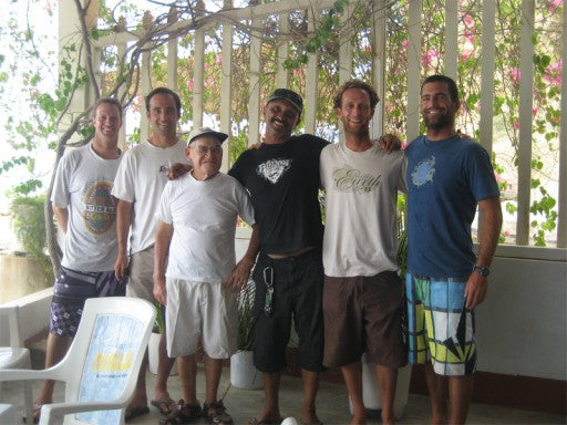 The crew with the owner of the Cabo Blanco Restaurant, Don Pablo, who had been working there since the days of Ernest Hemmingway.  The tiny fishing village of Cabo Blanco holds World Records for some of the largest Black Marlin caught offshore.  L to R: Trevor, Jon, Don Pablo, Pulpo, Me, Greg.