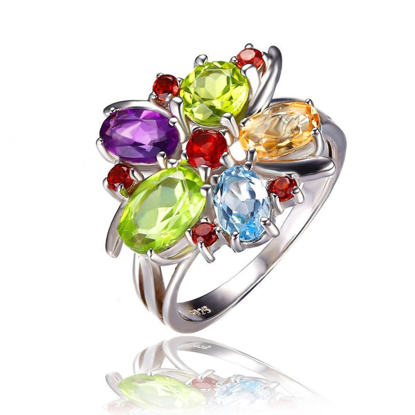 Sterling Silver Gemstone Cocktail Ring - Pelry