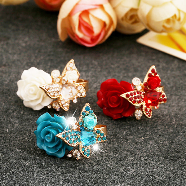 Flower and Butterfly Ring - Pelry