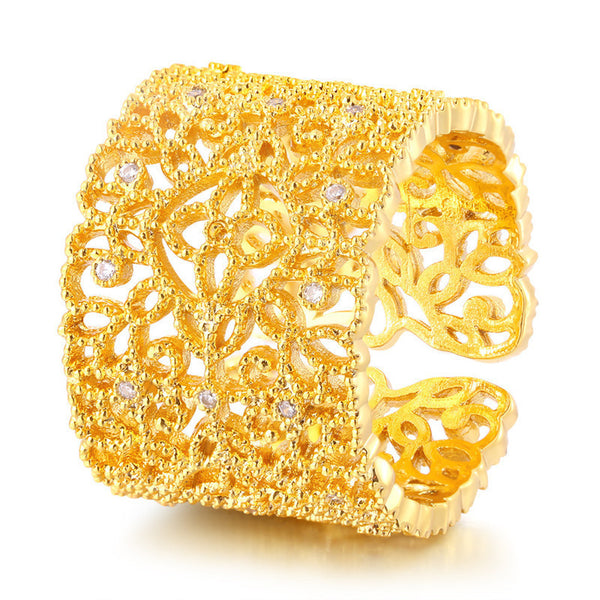 Stainless Steel Gold Plated Adjustable Ring - Pelry