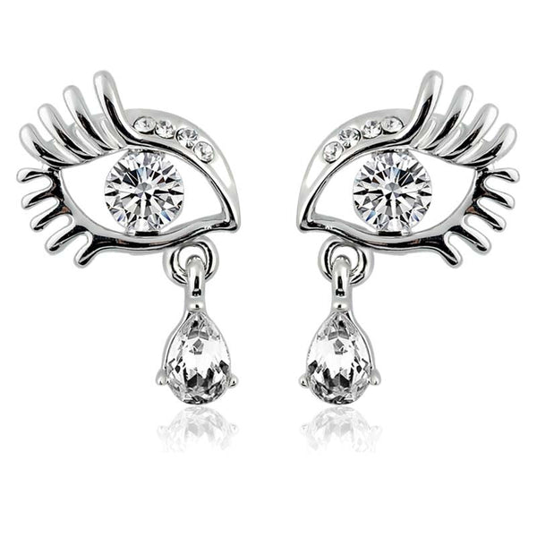 Silver Plated Teardrop Eye Earrings - Pelry