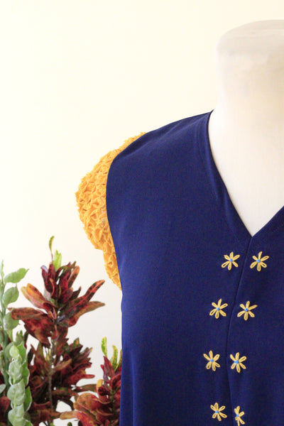 Ellie Dress - navy blue with mustard yellow sleeves