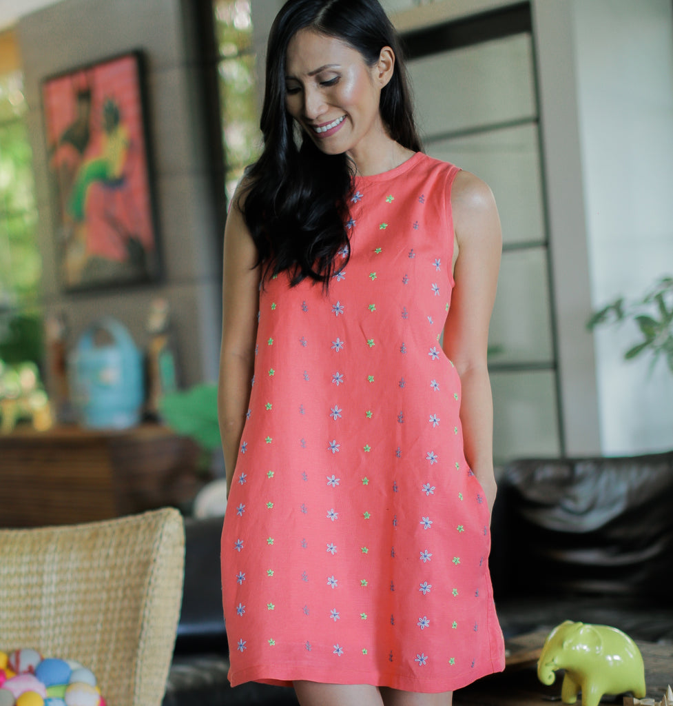 Daisy Dress - salmon red linen