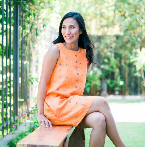 Daisy Dress - orange linen