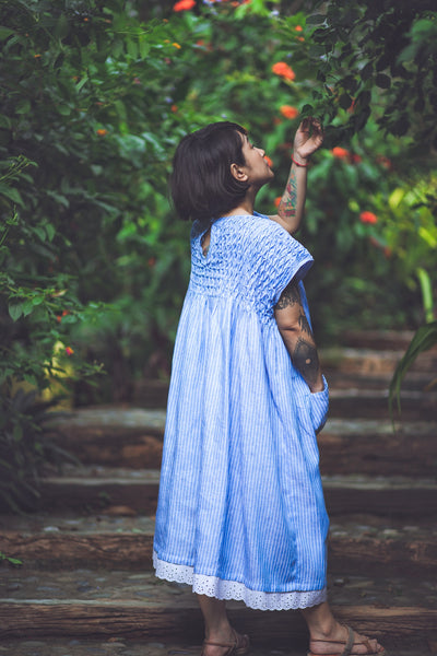 Angela Oversized Dress - Striped Blue Linen