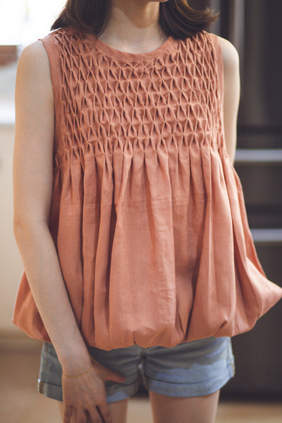 Anna Blouson Top  - rust-brown linen