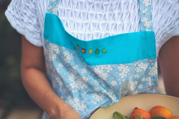 Fruits & Flowers Hand-Embroidered Apron - Blue