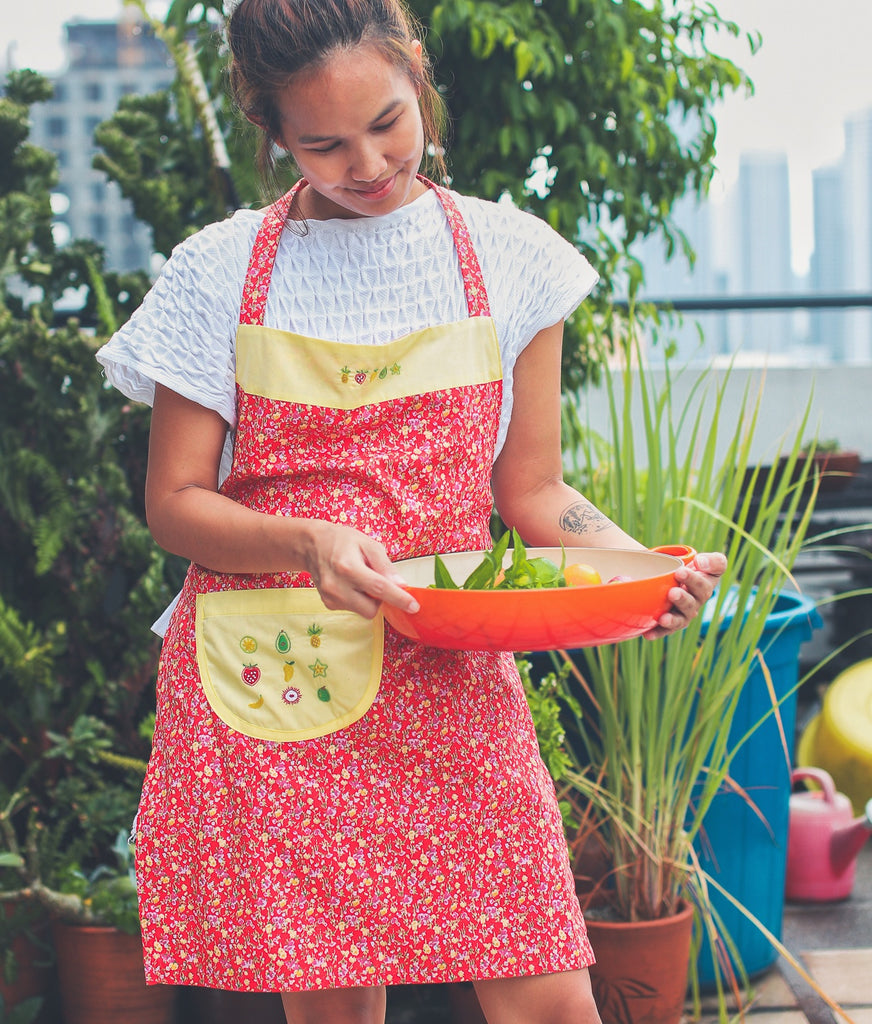 Fruits & Flowers Hand-Embroidered Apron - Red