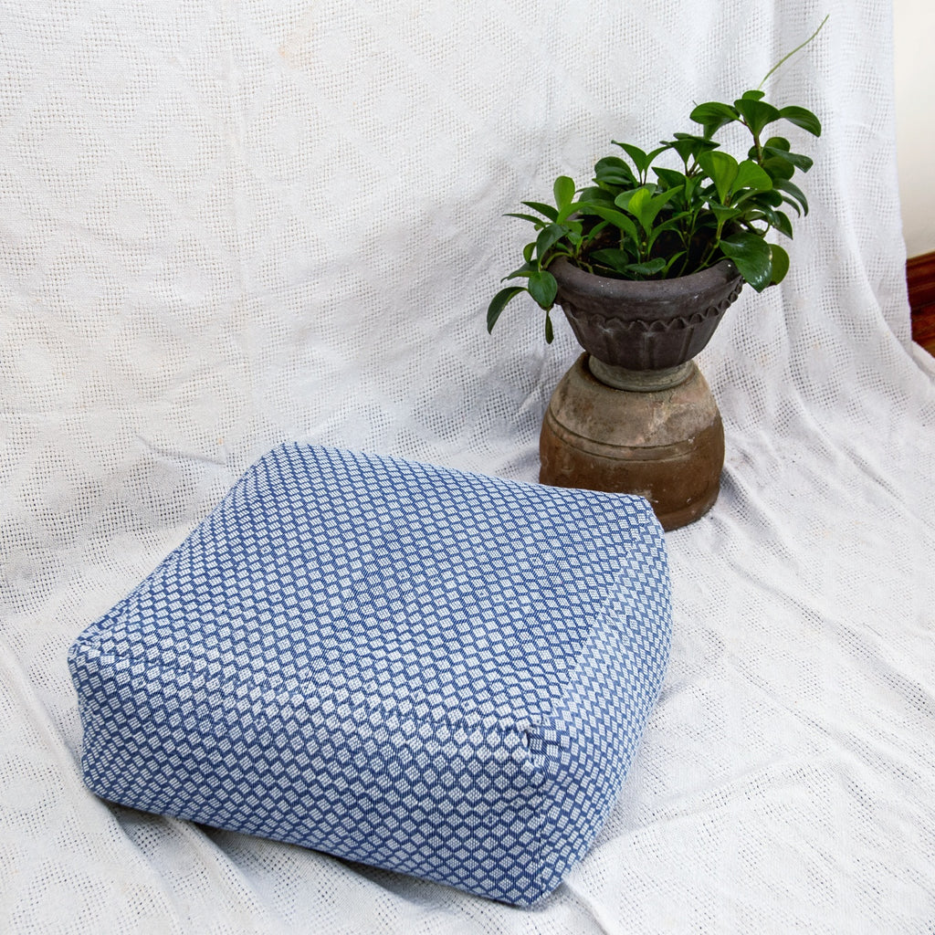Beanbag in Handwoven Textile - Blue and White