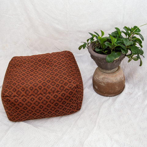 Beanbag in Inabel, Handwoven Textile - Chocolate