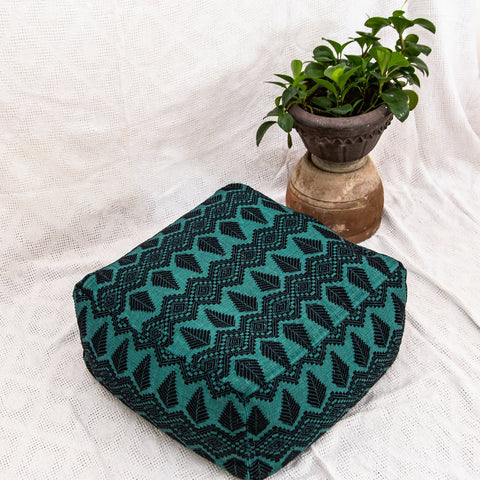 Beanbag in Handwoven Textile - Vibrant Green
