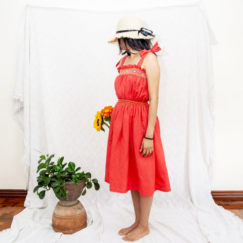 Betty Dress - red linen