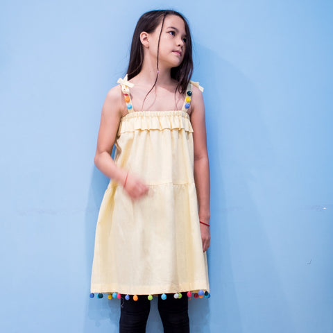 Pompom Dress - Yellow