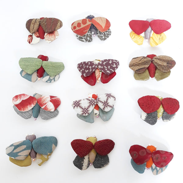 Susan - recycled fabric butterfly brooch