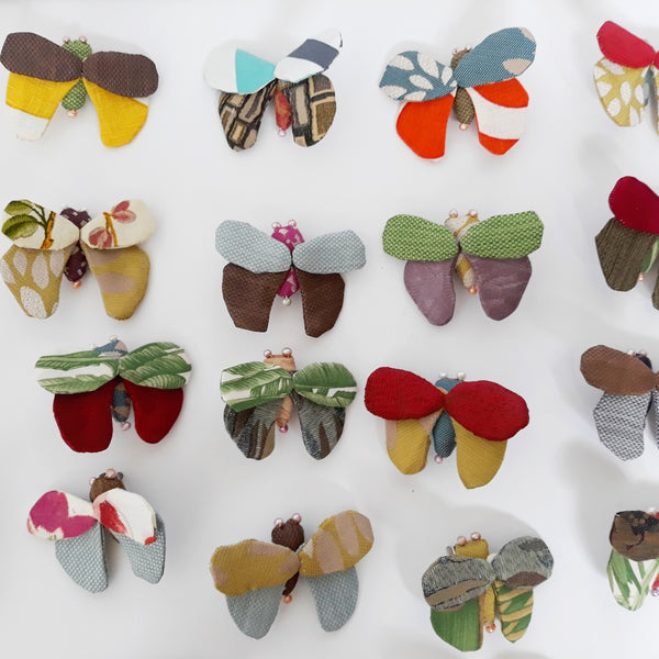 Mimi - recycled fabric butterfly brooch