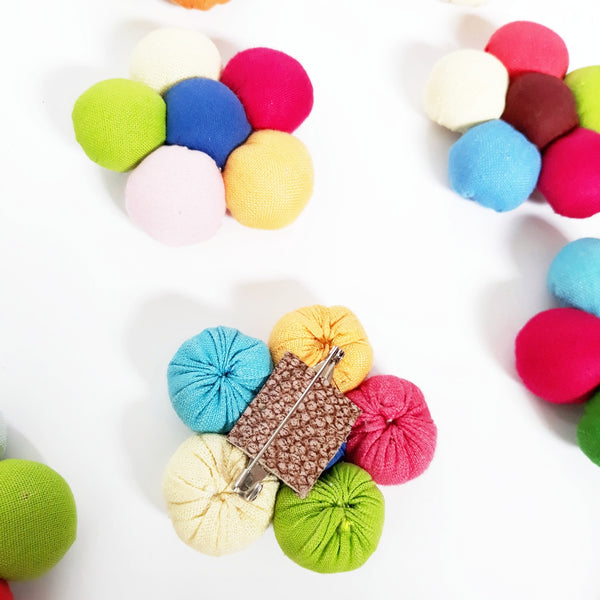 Lucky Buttons Flower Brooch - summer linen