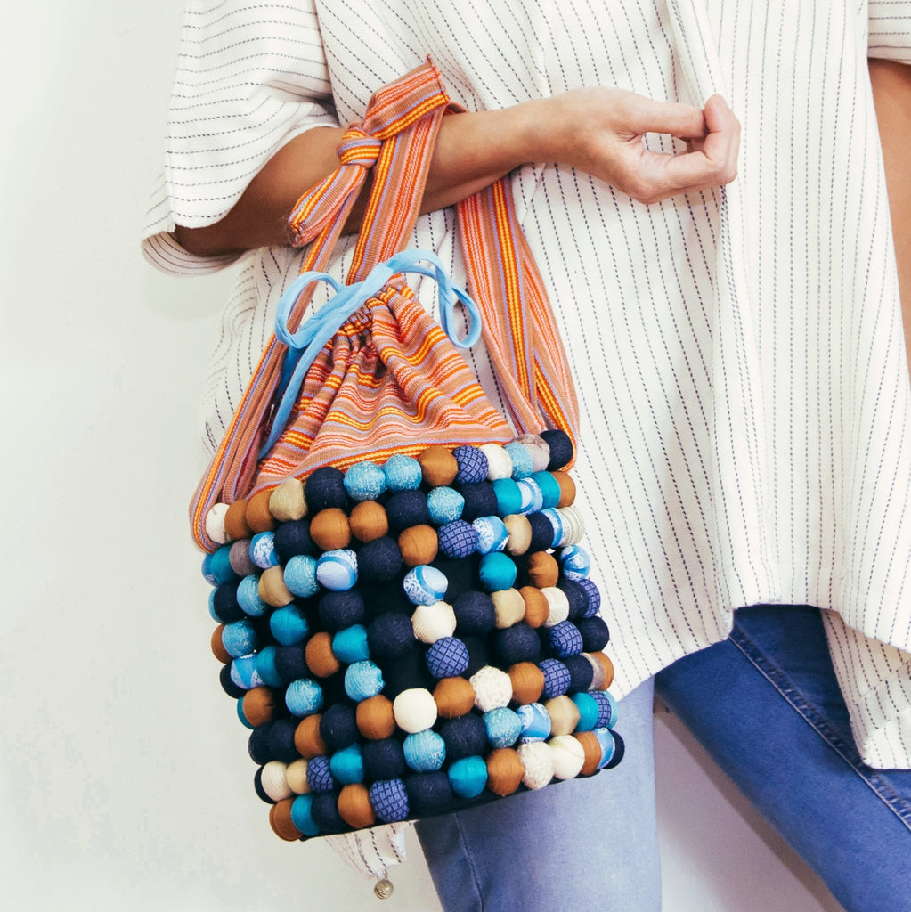Two-Way Bucket Bag in Blue