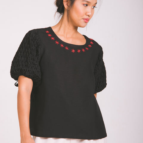 Chloe Blouse  - black linen