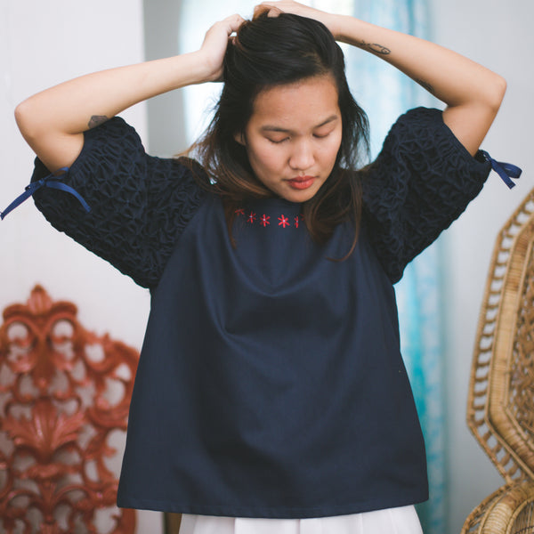 Chloe Blouse  - blue cotton twill