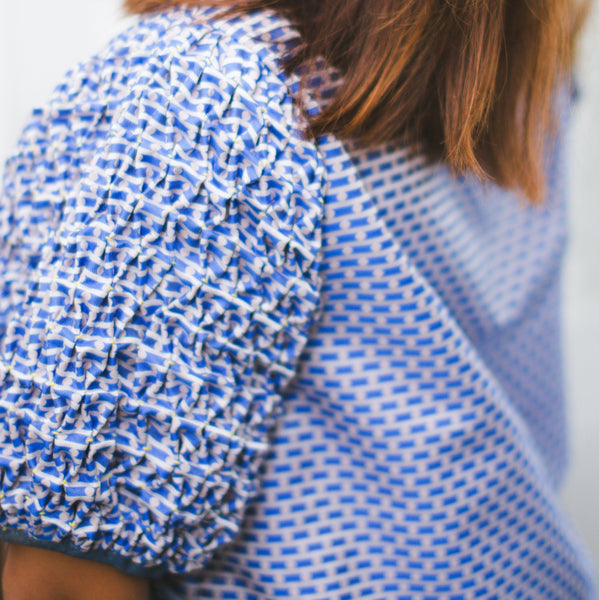 Chloe Blouse  - blue dots