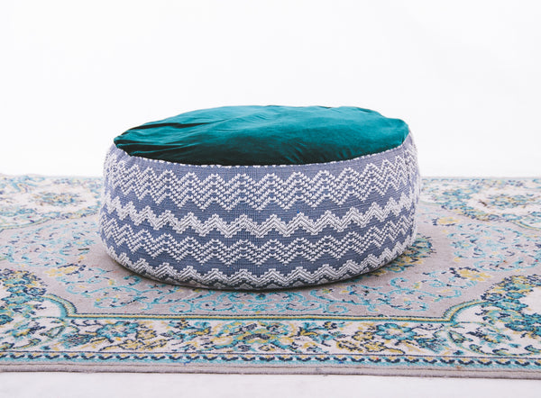Circle Floor Pillow - Blue Inabel with Velvet