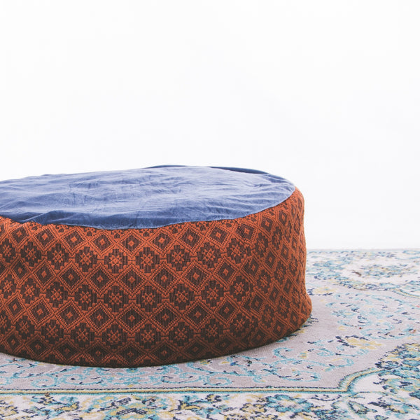 Circle Floor Pillow - Brown Inabel with Velvet