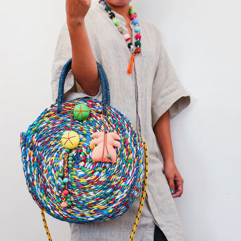 Round Beach Bag with Strap