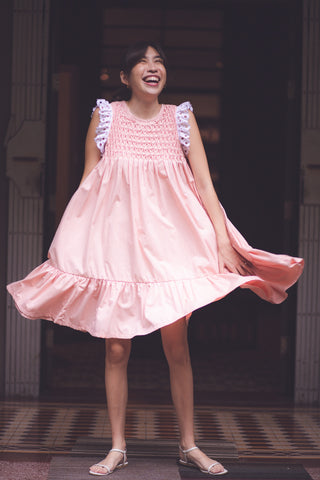 Clementine Hand-Smocked Baby Doll Dress - Peach