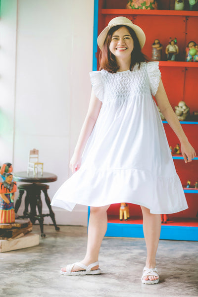 Clementine Hand-Smocked Baby Doll Dress - White Seersucker